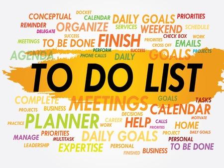 prioridades: TAREAS nube de la palabra, concepto de negocio Vectores