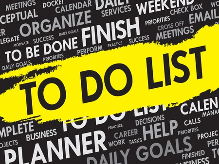 task list: TO DO LIST word cloud, business concept
