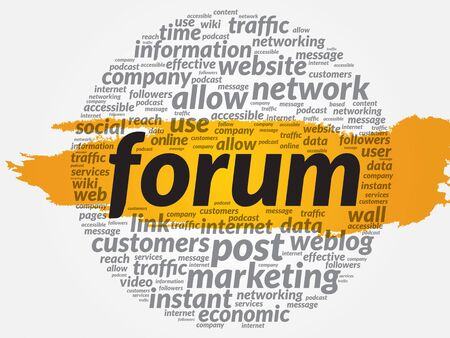 podcasts: FORUM word cloud, business concept Illustration