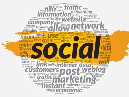 podcasts: SOCIAL word cloud, business concept Illustration