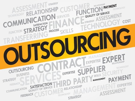 supplier: Outsourcing related items words cloud, business concept