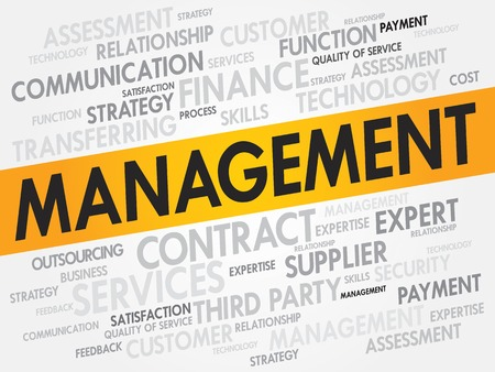 stakeholder: Management related items words cloud, business concept Illustration