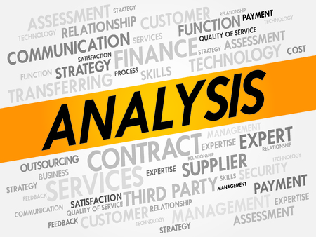 ANALYSIS word cloud, business concept Vector