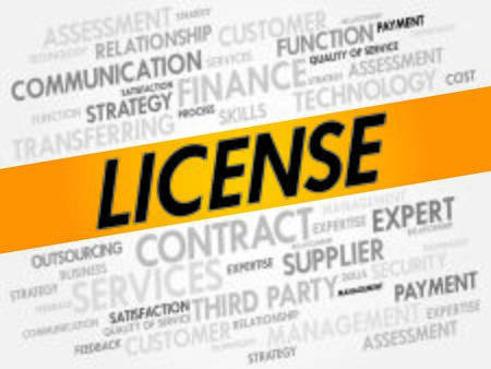 licensing: LICENSE word cloud, business concept