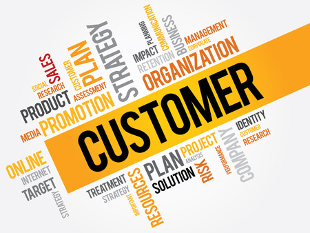 customer facing: CUSTOMER word cloud, business concept Illustration