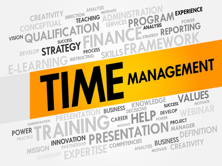accomplishing: Time Management word cloud, business concept