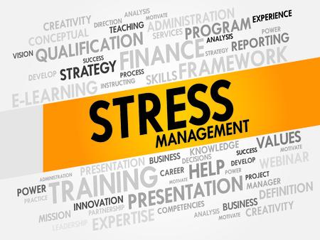 스트레스 관리 단어 구름, 비즈니스 개념