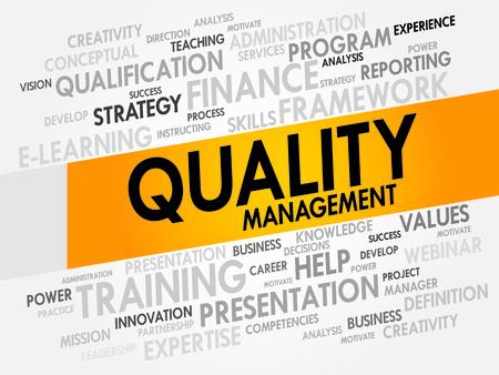 Qualitätsmanagement Wortwolke, Business-Konzept Illustration