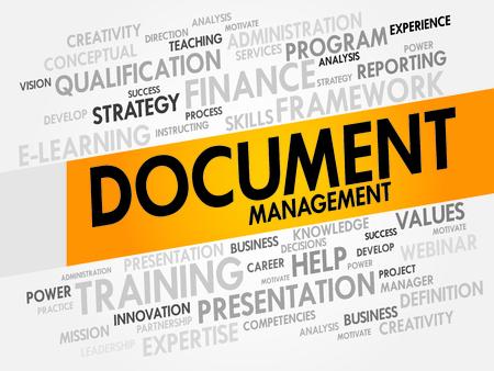 ecm: Document Management word cloud, business concept