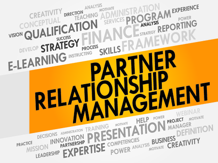 Partner Relationship Management word cloud, business concept Vector