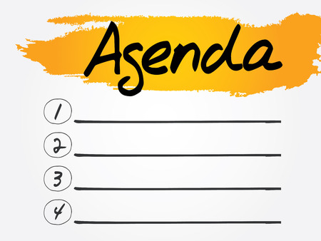 Agenda Blank List, vector concept background