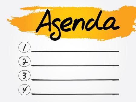 Agenda Blank List, vector concept background