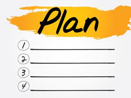 the list plan: Plan Blank List, vector concept background
