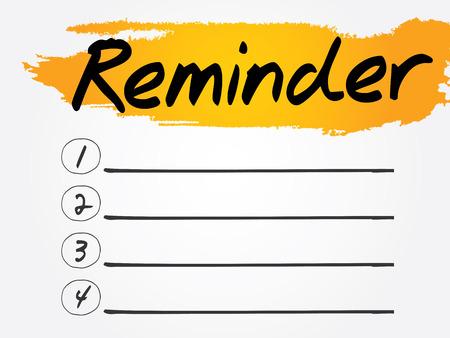 implication: Reminder Blank List, vector concept background