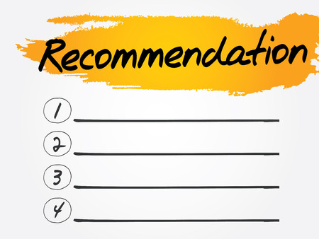 recommendation: Recommendation Blank List, vector concept