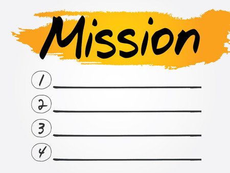 �mission: Mission Blank List, vector concept background