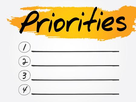 prioridades: Lista de Prioridades blanco, el concepto de fondo vector