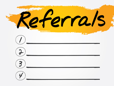 referral: Referrals Blank List, vector concept background