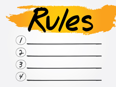 rules: Rules Blank List, vector concept background