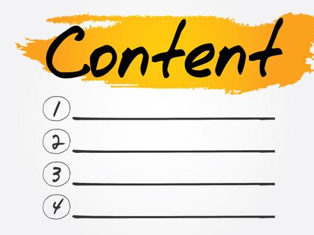 keywords link: Content Blank List concept background Illustration