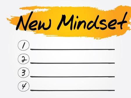 mindset: New Mindset Blank List concept background Illustration