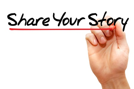 Hand writing Share Your Story with marker, business concept photo
