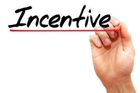 Hand schrijven Incentive met marker, business concept