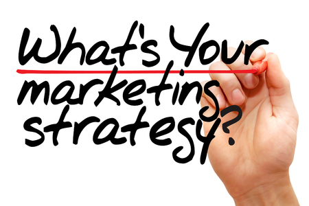 search engine marketing: Hand writing Whats Your Marketing Strategy with marker, business concept