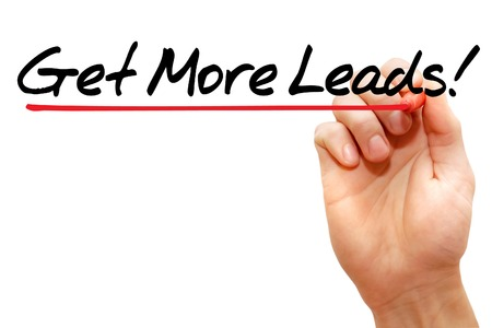 leads: Hand writing Get More Leads with marker business concept Stock Photo