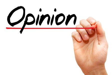opinionated: Hand writing Opinion with marker, business concept