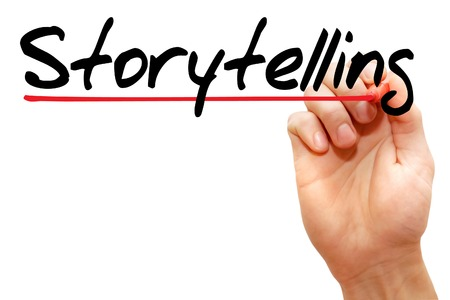 storytelling: Hand writing Storytelling with marker, business concept
