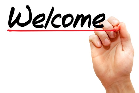 acceptable: Hand writing Welcome with marker, business concept