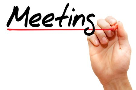 congregate: Hand writing meeting with marker, business concept