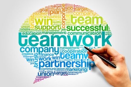 teaming: TEAMWORK Think Bubble word cloud, business concept