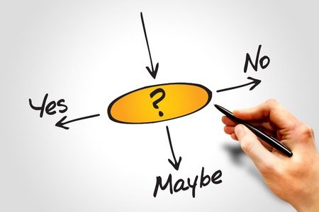 maybe: Diagram of Making decision Yes, No, or Maybe Stock Photo