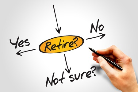 decide: Diagram of The risk to take the retirement, decide diagram Stock Photo