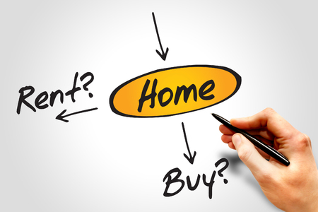 decide: Diagram of Decide buy or rent for the home, diagram business concept