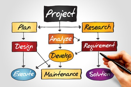 organization development: Flow chart for project development, business concept