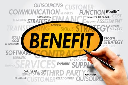allowance: BENEFIT word cloud, business concept Stock Photo