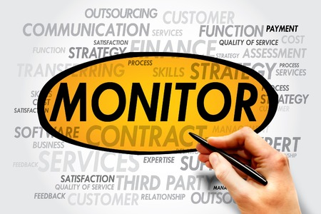 teaming: MONITOR word cloud, business concept Stock Photo