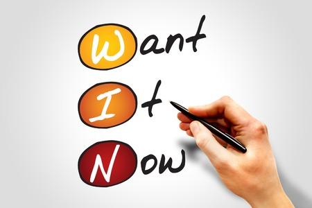 acronym: Want It Now (WIN), business concept acronym Stock Photo
