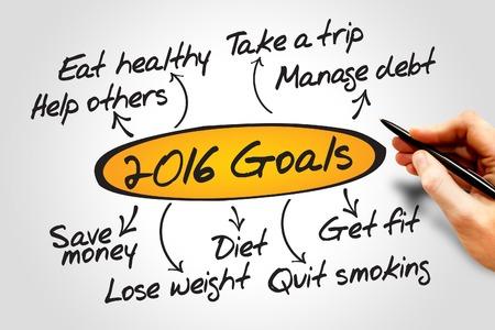 attain: 2016 Goals diagram, business concept