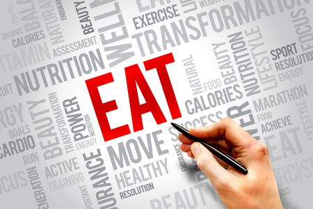 increase fruit: EAT word cloud, fitness, sport, health concept Stock Photo