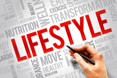 LIFESTYLE word cloud, fitness, sport, health concept Stock Photo