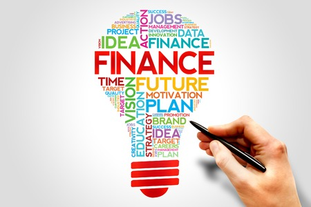 innovative: FINANCE bulb word cloud, business concept