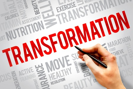 TRANSFORMATION word cloud, fitness, sport, health concept Banque d'images
