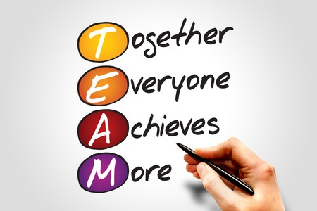 achieves: Together Everyone Achieves More (TEAM), business concept acronym Stock Photo