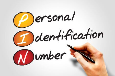digital numbers: Personal Identification Number (PIN), business concept acronym Stock Photo
