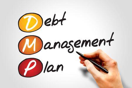 creditors: Debt Management Plan (DMP), business concept acronym