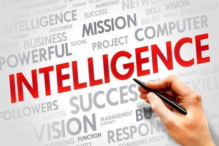 Intelligence word cloud, business concept